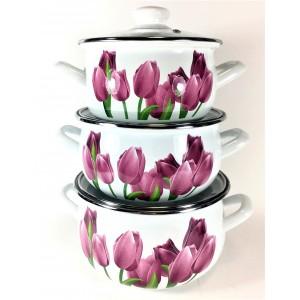 Алые тюльпаны Набор посуды (d16см/d18см/d20см) 2л,3л,4л