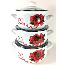 Сердечко Набор посуды (d16см/d18см/d20см) 2л,3л,4л