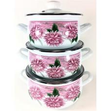 Хризантема 2 Набор посуды (d16см/d18см/d20см) 2л,3л,4л