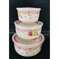 Набор керамических салатников с пластиковой крышкой 150/300/500 мл