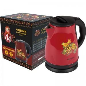 Чайник МАТРЁНА MA-003 электрический 1,7л стальной бордовый хохлома.Мощность 1500Вт