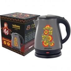 Чайник МАТРЁНА MA-003 электрический 1,7л стальной серый хохлома.Мощность 1500Вт
