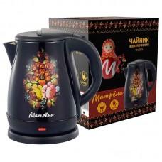 Чайник МАТРЁНА MA-003 электрический 1,8л стальной черный хохлома.Мощность 1500Вт