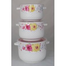 Набор керамич. салатников,пластик крышка,4шт (0,4л,0,5л,0,8л,1,5л)