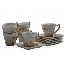 Набор чайный 12пр.Нежное какао 2.Объём кружки 180мл,размер тарелки 12,5*12,5см