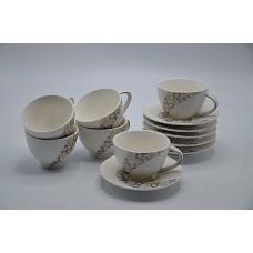 Набор чайный 12пр. Цветы.В наборе 6 кружек,6 тарелок.Объём кружки 200мл,диаметр тарелки 13см