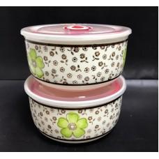 Набор керамических салатников с пластиковой крышкой 13*13 см