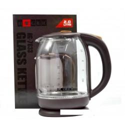 Чайник электрический 2л HAEGER HG-7833 Коричневый.Мощность 2000Вт.Корпус термостойкое стекло