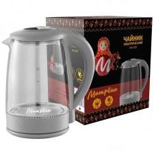 Чайник электрический МАТРЁНА MA-009 2л серый.Мощность 1500Вт.Корпус из термостойкого стекла