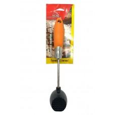 молоток для отбивания мяса с силикон. ручкой 25 см (черный,круглый)