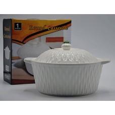 Блюдо жаропрочное круглое с крышкой диаметр 20см.Белое.Керамика.Объём 3л