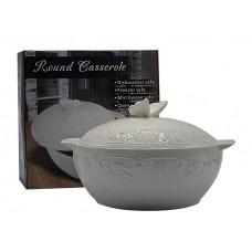 Блюдо жаропрочное круглое с крышкой диаметр 26см.Белое.Керамика.Объём 4л