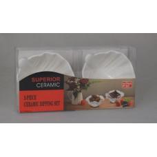 Набор салатников керамика 2 шт белые, лепесток