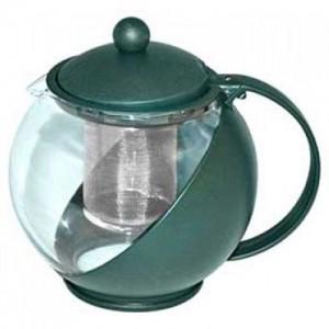 Чайник заварочный с сеточкой,1,25л,стекло,пластик,3цв.