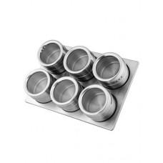 Набор для специй на магнитах, 6 баночек из нерж. стали, металлическая подставка, пластиковые крышка