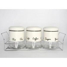Набор банок для сыпучих 3 шт (450 мл) на подставке материал:стекло с металлом бежевого цвета