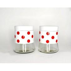 Набор банок для сыпучих 2 шт (450 мл)Горох белый-красный материал: стекло металл