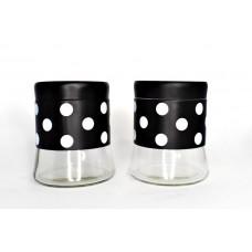 Набор банок для сыпучих 2 шт (450 мл)Горох белый-черный материал: стекло металл